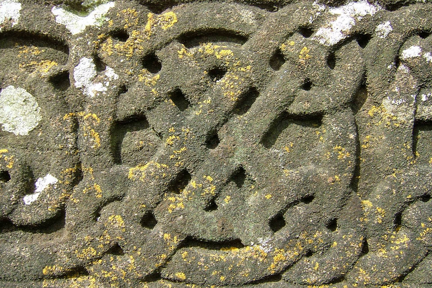 Image of a Celtic knot design on stone with moss