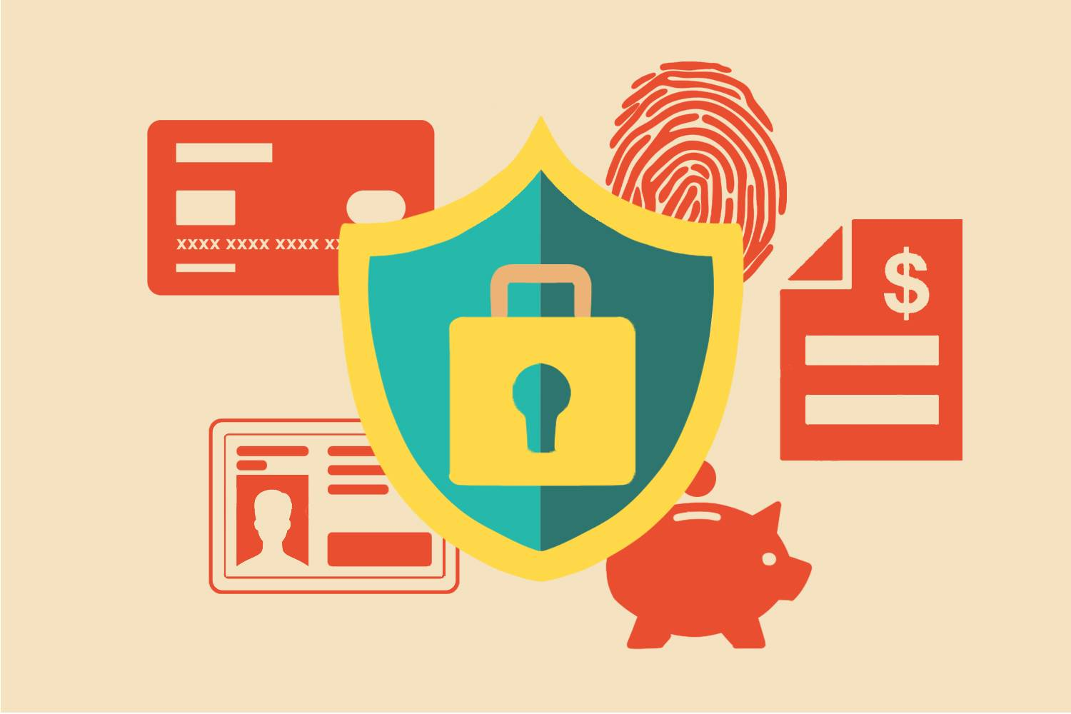 Infographic of a shield with lock and keyhole over images of a credit card, ID, finger print, piggy bank and financial statement