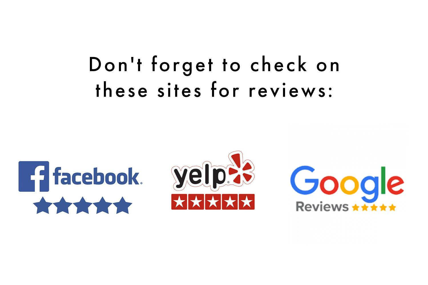 """Image saying """"don't forget to check on these sites for reviews"""" with icons for Facebook, Yelp and Google Reviews"""