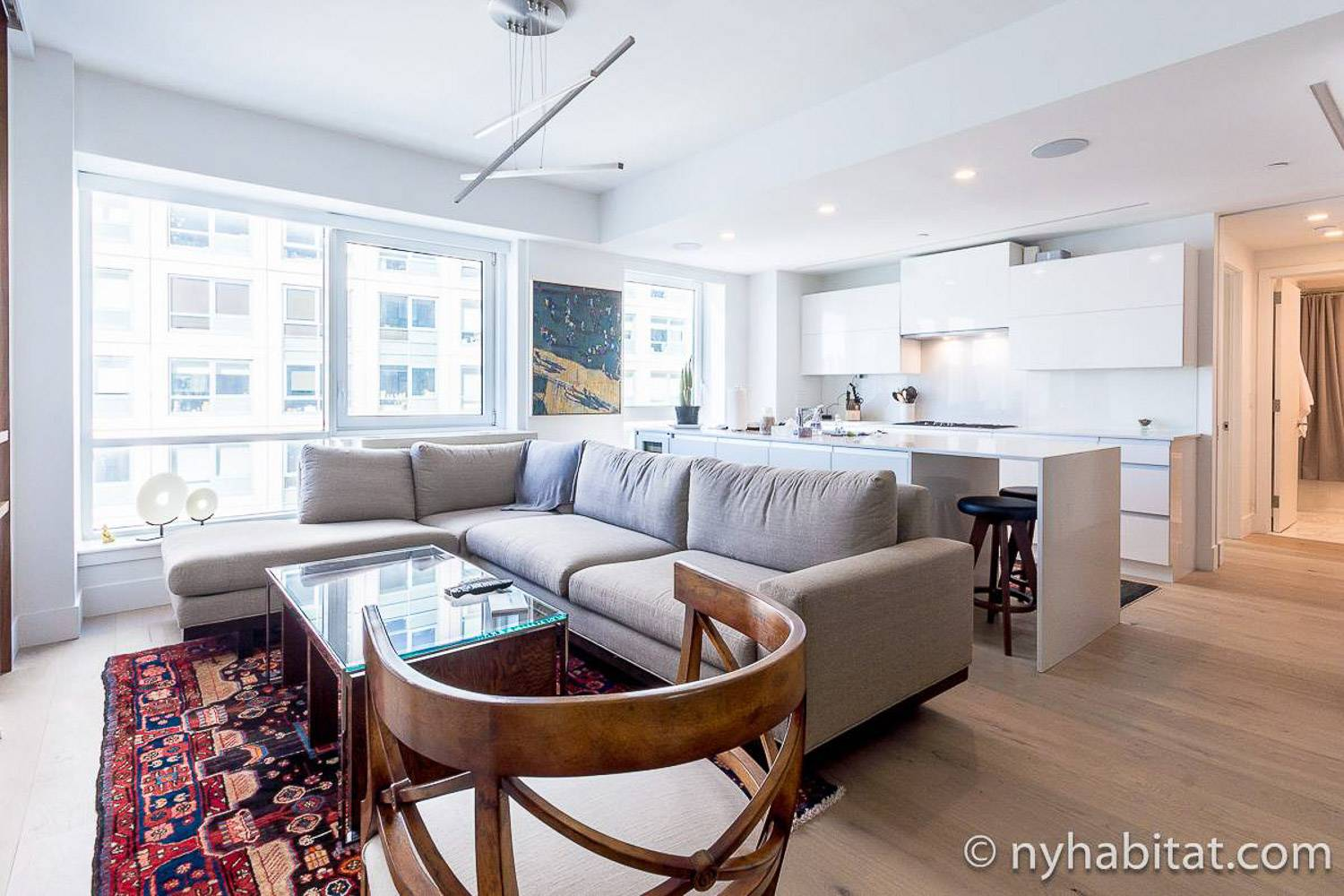 Image of living room and open kitchen of furnished rental NY-17853 in Williamsburg, Brooklyn