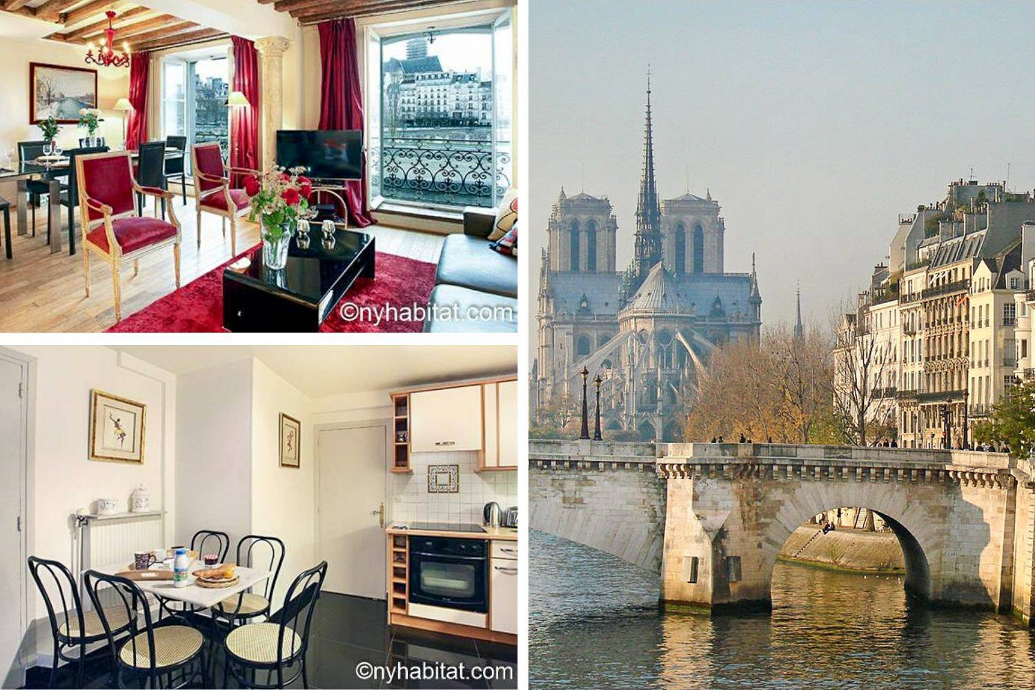 Collage image of the living room and kitchen of vacation rental PA-3085 as well as a view of a bridge crossing the Seine River with Paris buildings on the side and Notre Dame Cathedral in the back-ground.
