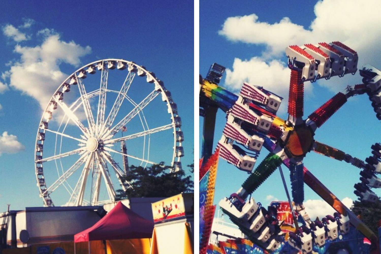 Collage image of two amusement rides at the Foire du Trône in Paris.