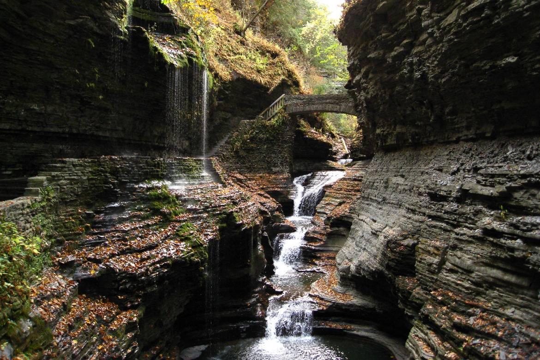Bild von einer Schlucht, einem Wasserfall und einer Brücke im Watkins Glen State Park.