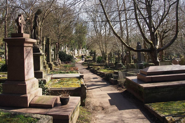Foto eines Weges gesäumt von Grabsteinen und umgeben von Bäumen in Londons Highgate Friedhof.