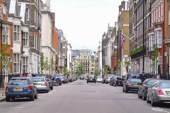 Foto einer Wohnstraße in Marylebone, London.