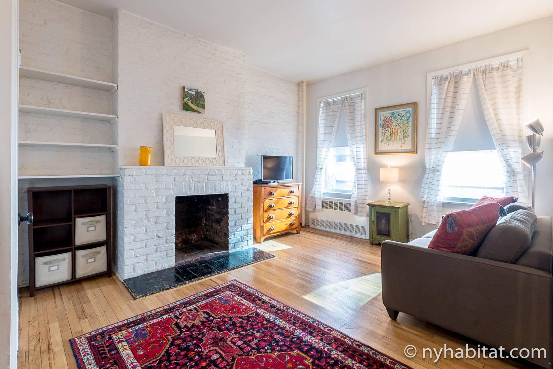Bild des Wohnbereichs in NY-14585 mit Schlafsofa, Fernseher und dekorativem Kamin.