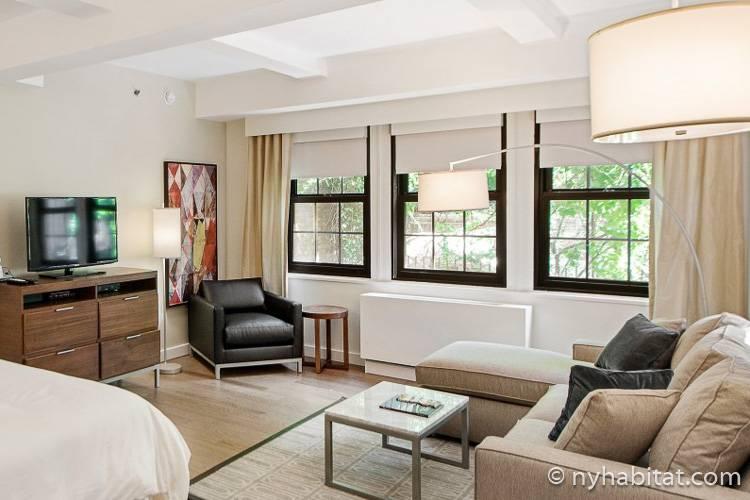 Bild des Wohnbereichs in NY-16839 mit Sofa, Fernseher und Sessel.