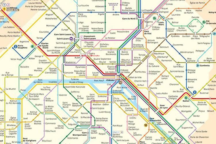 Detaillierte Ansicht des Pariser U-Bahn-Netzes.