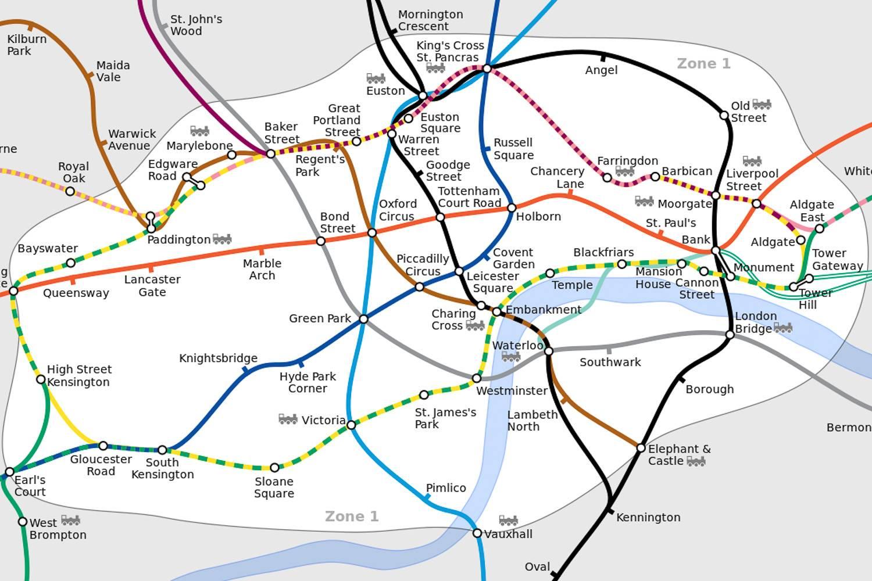 Bild der Zone 1 des London Underground, die Hauptstationen sind beschriftet.