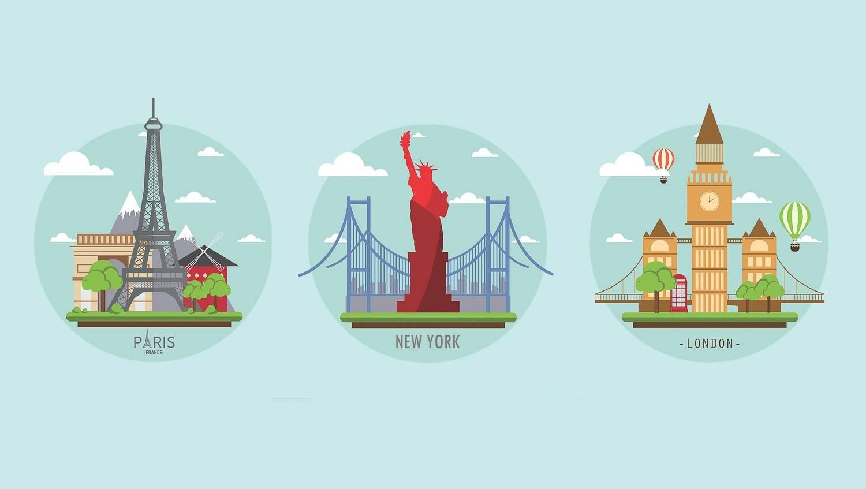 Abbildung der berühmtesten Wahrzeichen Frankreichs, New Yorks und Londons.