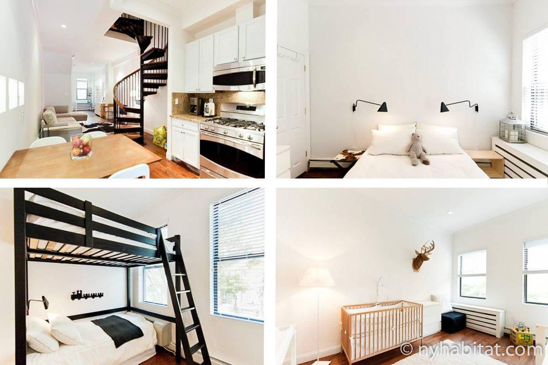 Bildkollage von einem Schlafzimmer mit Etagenbetten und Babybett und Küche der möblierten Wohnung in Harlem NY-17189