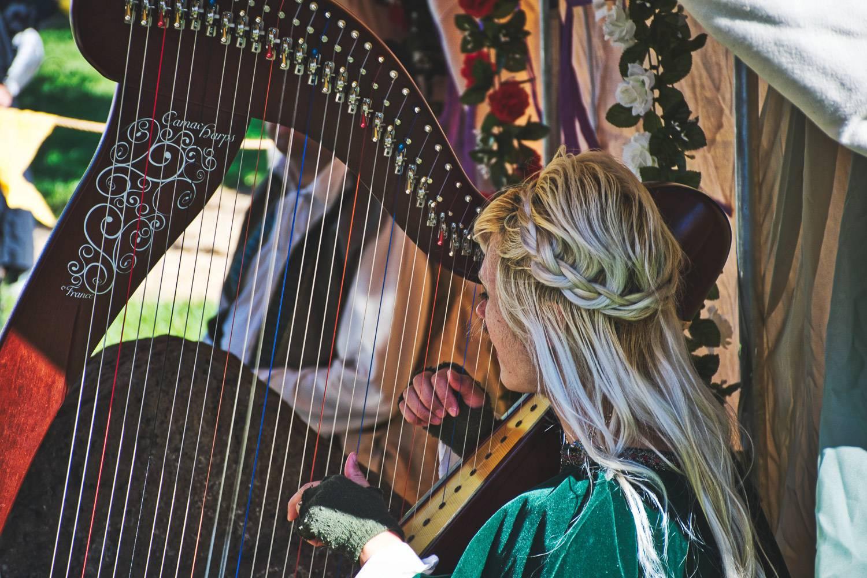 Bild einer blonden Harfinistin mit geflochtenem Haar, die eine Harfe spielt und in Grün gekleidet ist