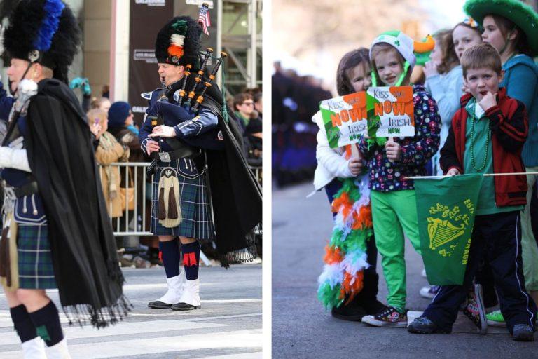 Bild eines Mannes mit roten Haaren ganz in Grün als Kobold verkleidet, der die St. Patrick's Day Parade in New York anführt