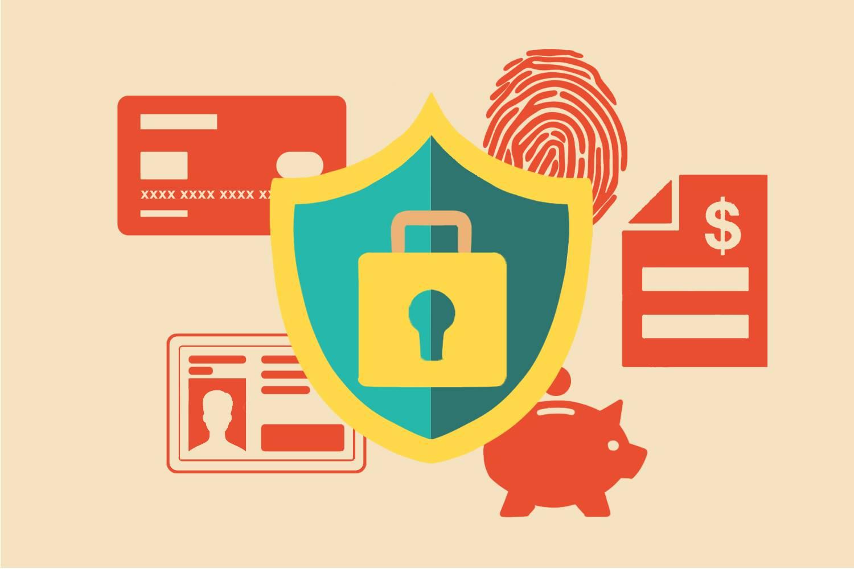 Infografik eines Schilds mit Schloss und Schlüsselloch, im Hintergrund befinden sich eine Kreditkarte, ein Ausweis, Fingerabdruck, Sparschwein und ein Finanzbericht