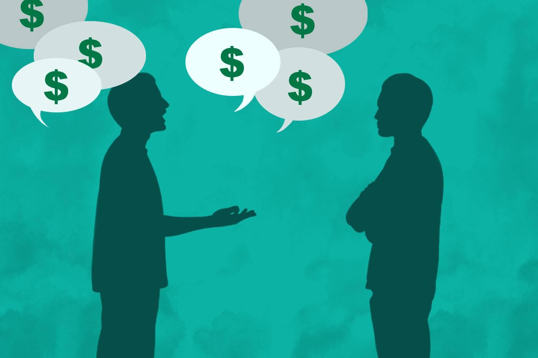 Infografik zweier Personen, von welchen eine über Geld spricht, mit Dollarsymbolen in Sprechblasen und die andere zuhört, mit skeptisch verschränkten Armen