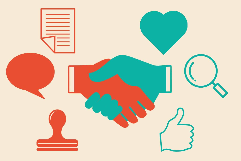 Infografik eines Handschlags mit Symbolen eines Stempels, Dokuments und einer Sprechblase auf der einen Seite, einem hochgehaltenen Daumen, einem Such-Icon und einem Herz auf der anderen Seite, was die beiden Seiten einer Transaktion darstellen soll