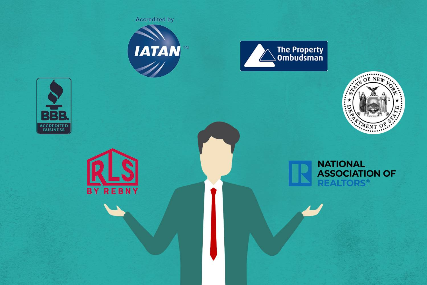 Infografik einer Person in Anzug und Krawatte, umgeben von Icons des Better Business Bureaus, IATAN, REBNY, der National Association of Realtors, des NY State Department of State und The Property Ombudsman