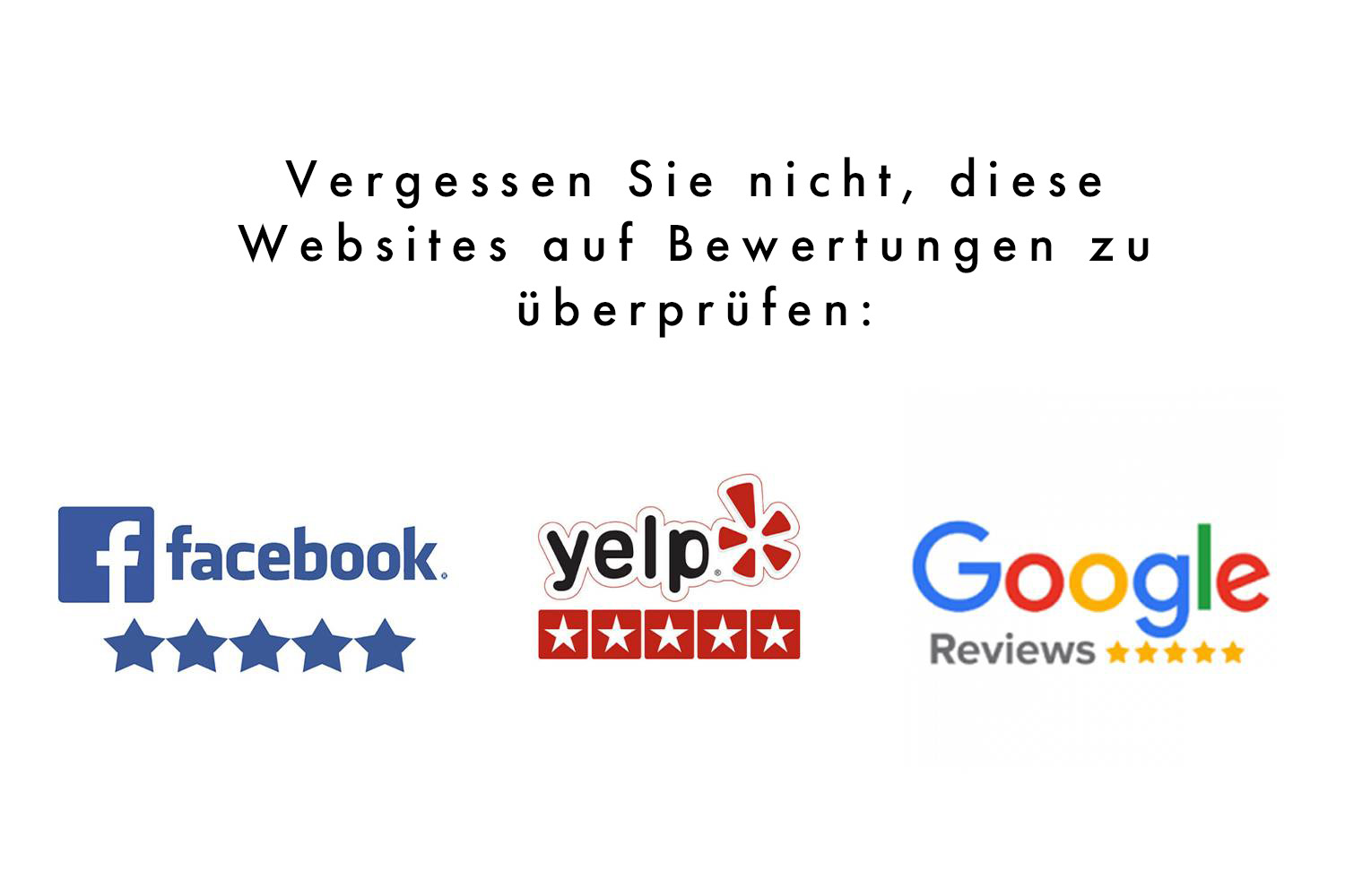 "Darstellung, auf welcher steht: ""don't forget to check on these sites for reviews"" mit Icons von Facebook, Yelp und Google Reviews"