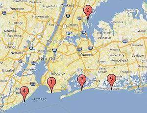 Siehe die nummerierten Pins zur Lage der Top 5 Strände in New York City