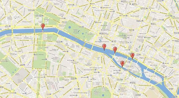 Ein Stadtplan, auf dem einige der Brücken über die Seine abgebildet sind