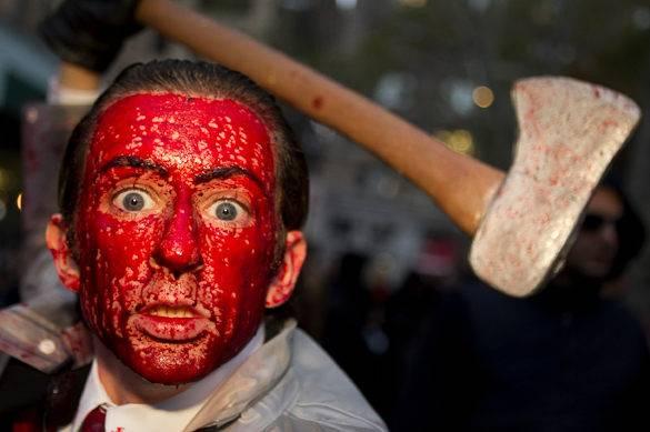 Bild einer gruseligen Halloweenmaske in New York City