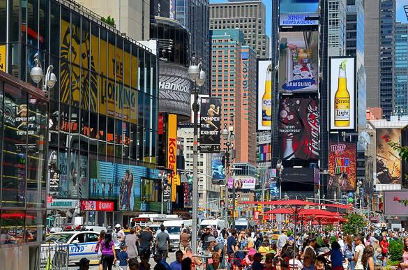 Bild des Times Square mit Fußgängerzone