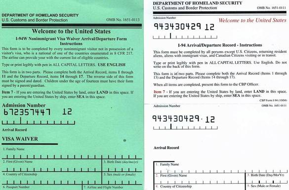 Bild eines I-94- Formulars, dass Sie bei einem Flug nach New York City ausfüllen müssen
