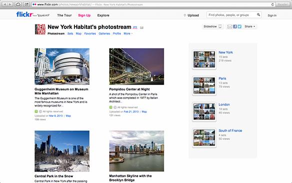 Screenshot der Flickr Page von New York Habitat