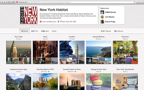 Screenshot der Pinterest Page von New York Habitat