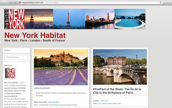 Screenshot der Tumblr Page von New York Habitat