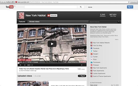 Screenshot des englischen Youtube Channels von New York Habitat