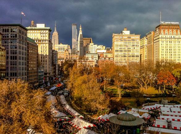 Foto von New Yok Citys Union Square Weihnachtsmarkt