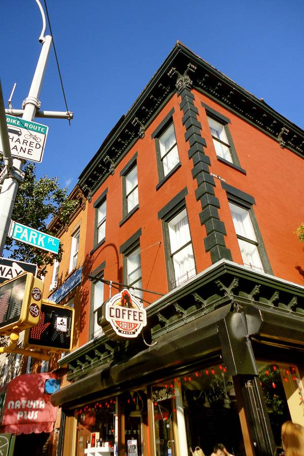Bild des Coffee Shops Gorilla Coffee in Park Slope, Brooklyn. Photo: Sheryl Yvette.