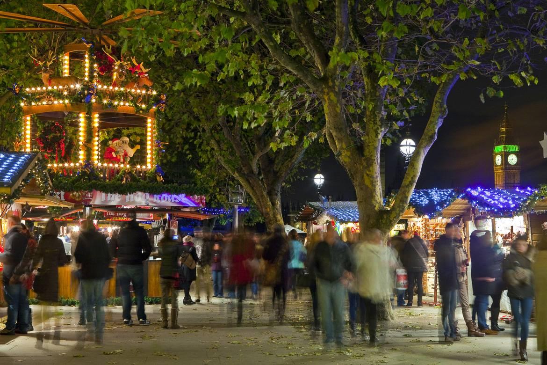 Der Southbank Weihnachtsmarkt an der Themse