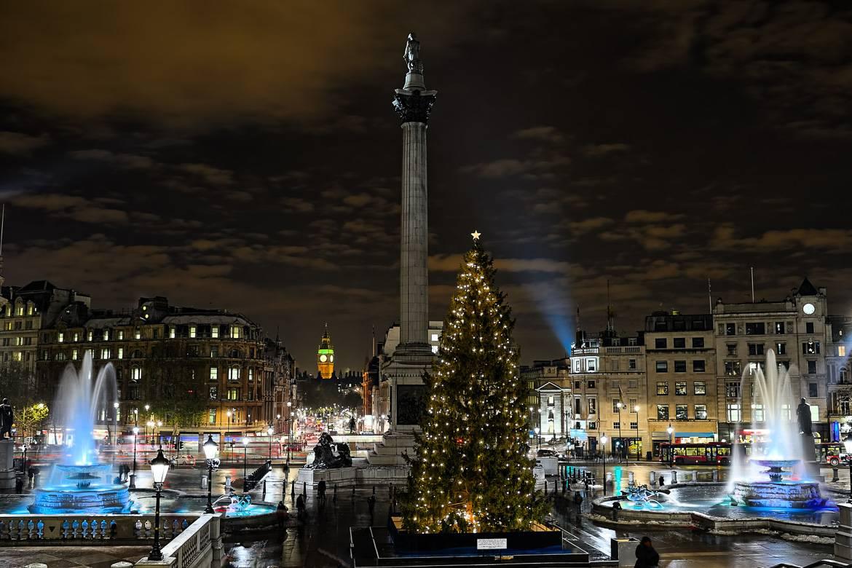 Sehen Sie, wie am Trafalgar Square die Lichter des Baumes eingeschaltet werden