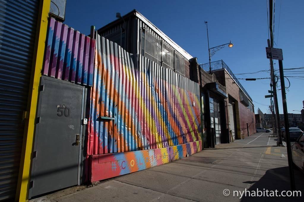 Bild einer bunten Fassade in Bushwick, Brooklyn