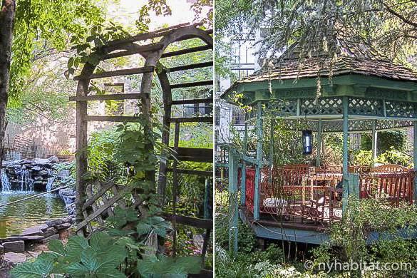 Bild vom botanischen Garten 6BC mit Spalierbogen, Teich und Gartenpavillon.