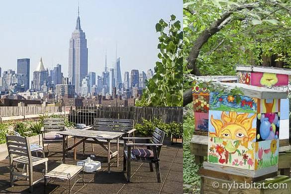 Bild der Dachterrasse der Wohnung NY-3201 mit Blick aufs Empire State Building, Gemüsegarten auf der Dachterrasse und bunt bemalte Bienenstöcke