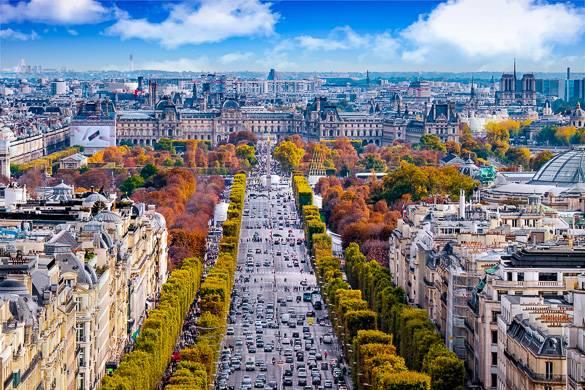 Foto von einem mit Bäumen in Herbstfarben gesäumten Boulevard und Haussmann-Gebäuden