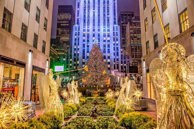 Foto vom Rockefeller Center Weihnachtsbaum mit Beleuchtung