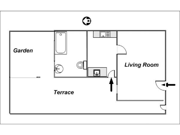 Londres Studio T1 logement location appartement - plan schématique  (LN-24)