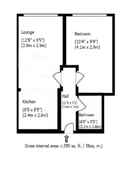 Londres T2 logement location appartement - plan schématique  (LN-119)