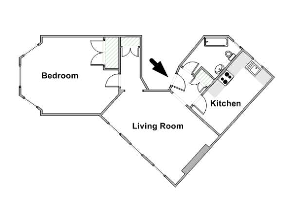 London 1 Bedroom apartment - apartment layout  (LN-318)