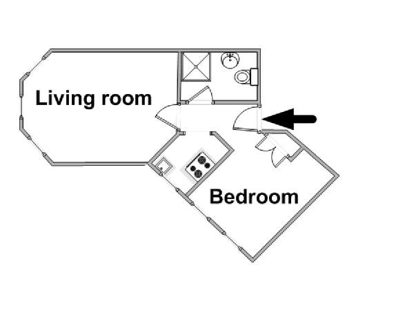 London 1 Bedroom apartment - apartment layout  (LN-319)
