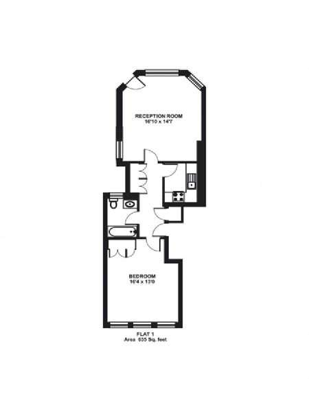 London 1 Bedroom apartment - apartment layout  (LN-326)
