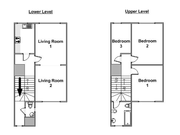 Londres T4 appartement location vacances - plan schématique  (LN-374)