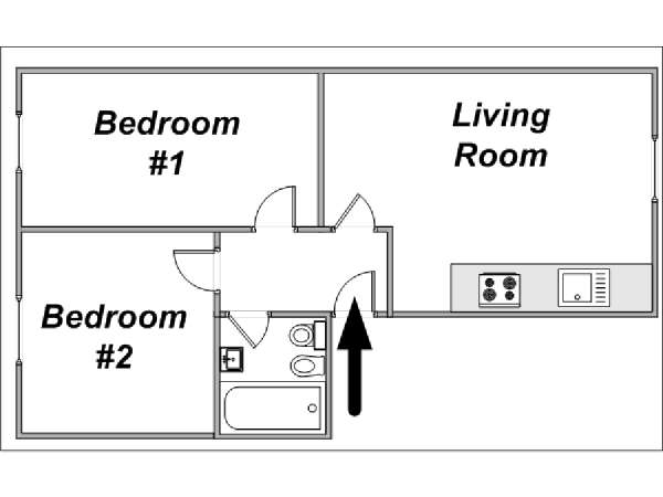 London 2 Bedroom accommodation - apartment layout  (LN-442)