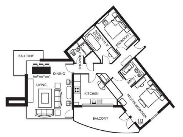 London 2 Bedroom apartment - apartment layout  (LN-627)