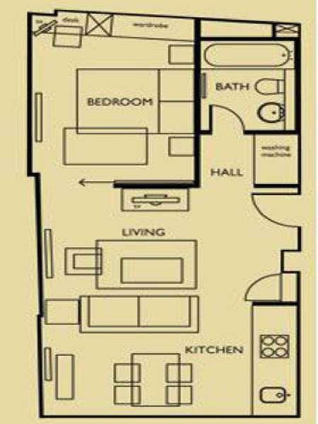 London 1 Bedroom apartment - apartment layout  (LN-657)
