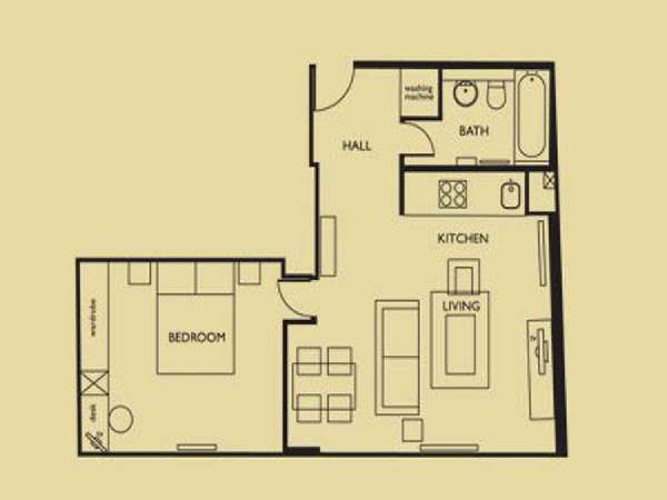 Londres T2 logement location appartement - plan schématique  (LN-658)